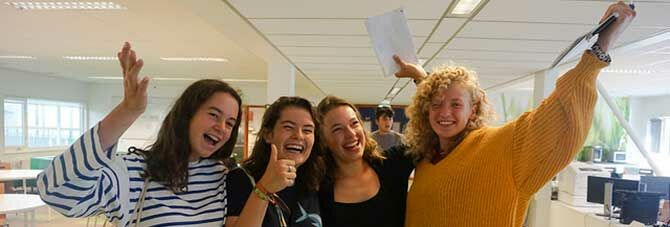 A level students receive results