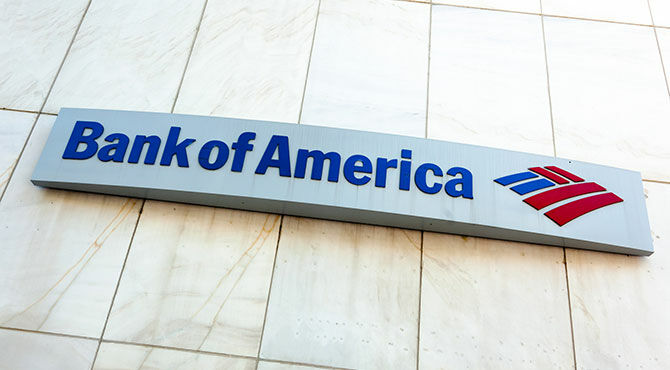 Bank of America logo on side of building