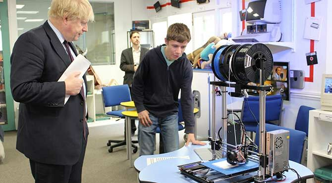 Boris Johnson sees technology in action at international school