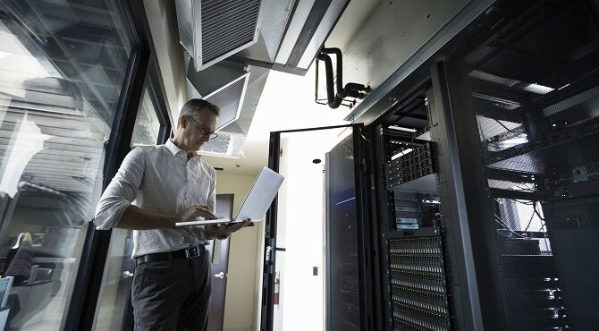 Engineer working on a server system