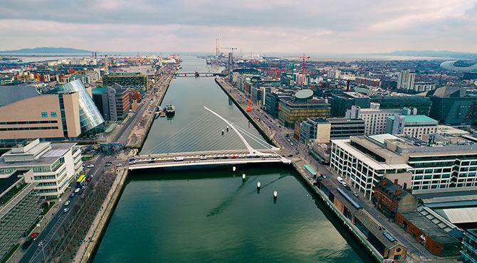 Dublin docks view from above