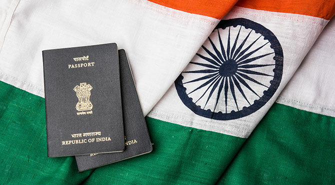 India flag and passports