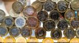 Pound coins piled up