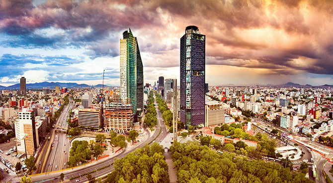 Skyline view of Mexico City