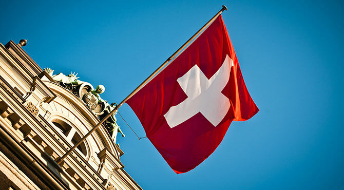 Swiss flag flying