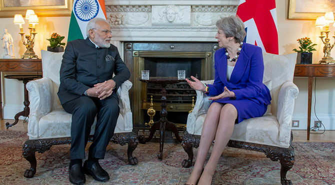 Theresa May and Mr Modi met in Downing Street