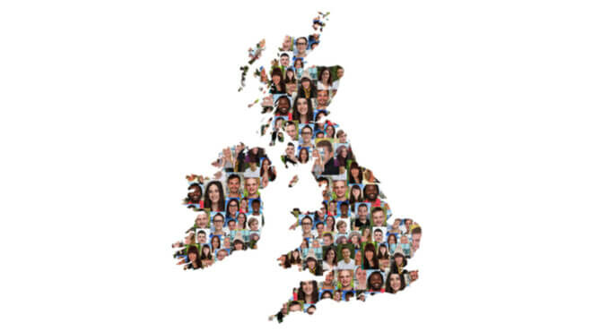 Image of UK map made up of faces of young people