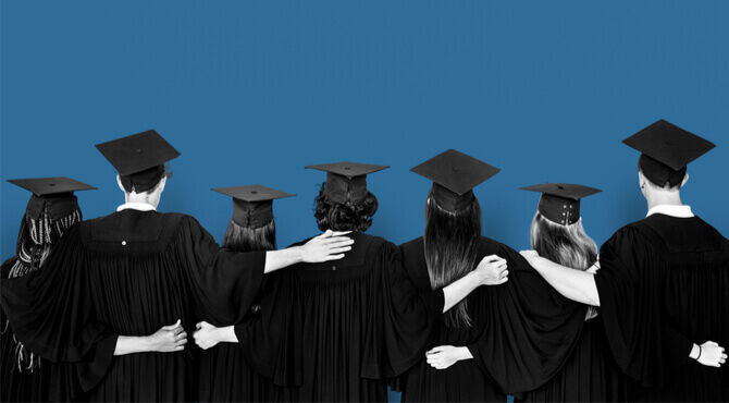 Image of back of supportive group of graduates