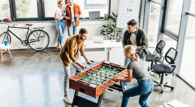 Image of office football table bikes and free hot drinks