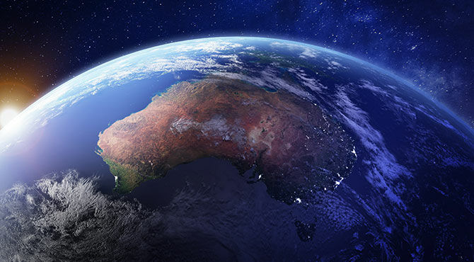 Australia as seen from space at night