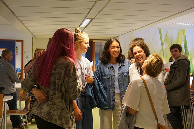 Students at the British School in the Netherlands await their A Level results