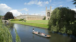 Students punting on the river at Cambridge University