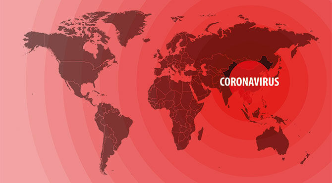 Map of the world illustrating the spread of the coronavirus