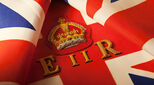 Union Jack flag with insignia of the crown of Queen Elizabeth II to illustrate an article about the Queen\\\'s latest UK awards
