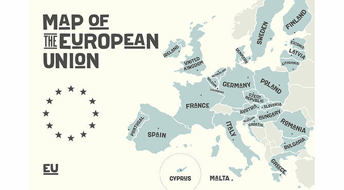 Map of the European Union 2017 before the UK leaves as a result of the Brexit referendum