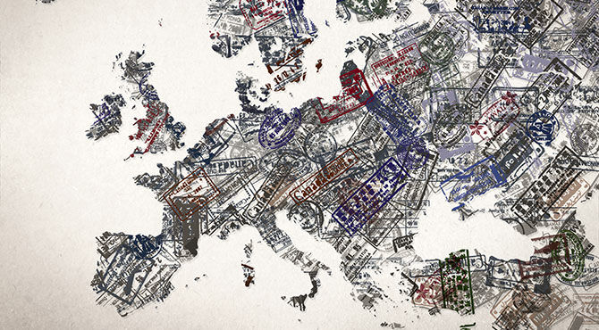 Map of Europe and UK illustrated using visa stamps