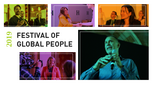 Festival of Global People banner with images of speakers, panelists and delegates