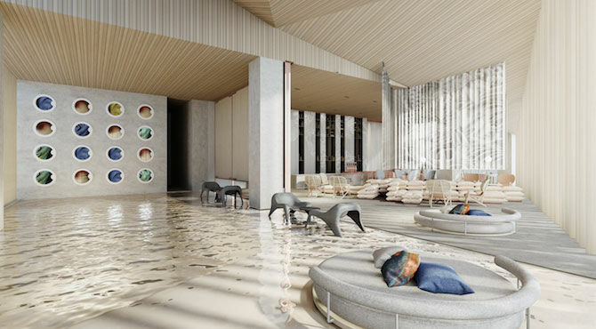 Japanese architect Kengo Puma's Tokyo partnership with Frasers Hospitality - illustration of one of the ground floor social living spaces.
