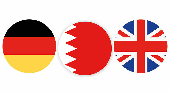 Flag of Germany, Bahrain and Great Britain illustrate an article about the HSBC Expat Survey 2019