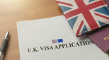 UK visa application with union jack
