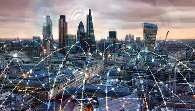 London with technical connectedness illustration over the skyline