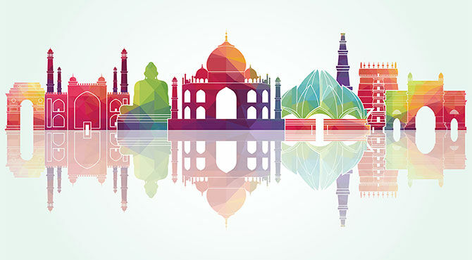Iconic buildings in India (including Taj Mahal) graphic