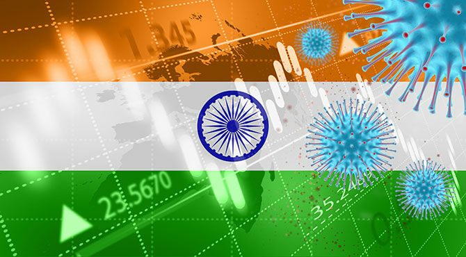 Indian flag with Covid-19 image