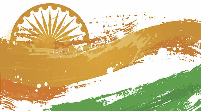 An illustration in the colours of the national flag of India