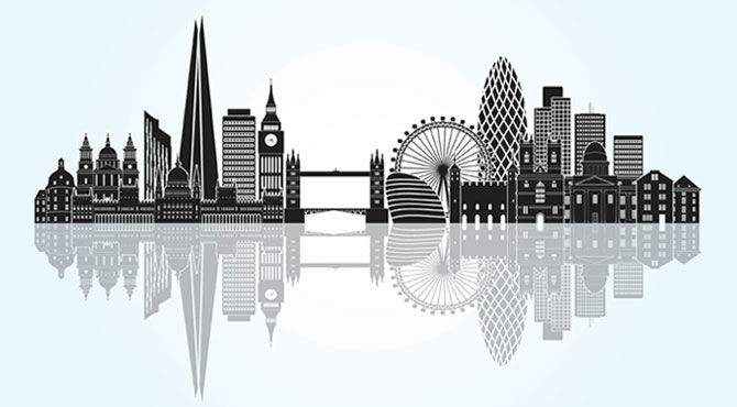Silhouette of London illustrating an article about renting versus buying property in the UK