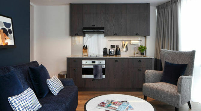 Inside a serviced apartment