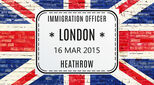 Union Jack flag with a Heathrow Airport immigration official stamp superimposed upon it