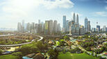 Panorama cityscape view in the middle of Kuala Lumpur city center ,day time , Malaysia