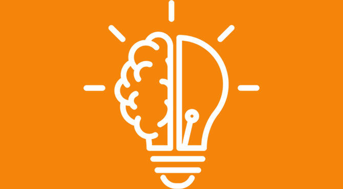 Light bulb and brain illustrating an article about managing uncertainty