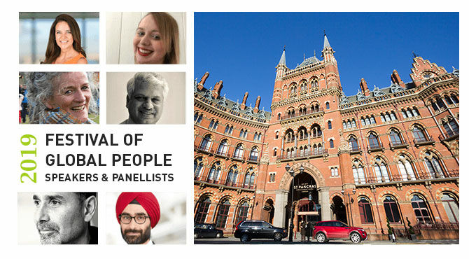 Image featuring six speakers for the Festival of Global People and the St Pancras Hotel