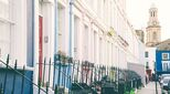 Photo of houses in Notting Hill, London, illustrates an article about UK property prices