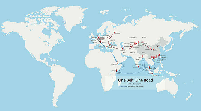 One Belt One Road China map