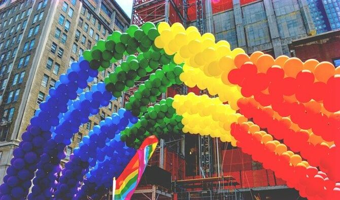 NY Pride balloons outside office buildings