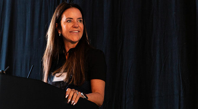 Angela Middleton gives a keynote talk at the Relocate Festival of Global People