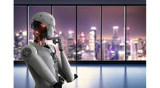 Robot in thinking pose with cityscape in the background