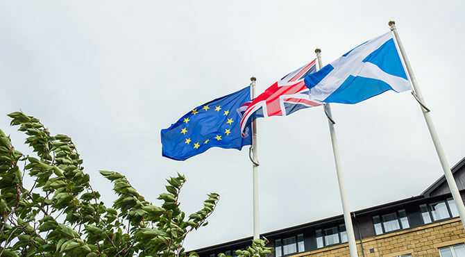 Union Jack, Scottish flag and EU flag