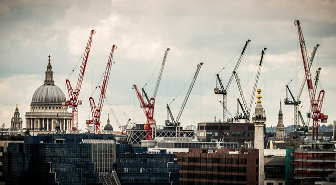 St Paul's Cathedral, London, with building cranes in the skyline