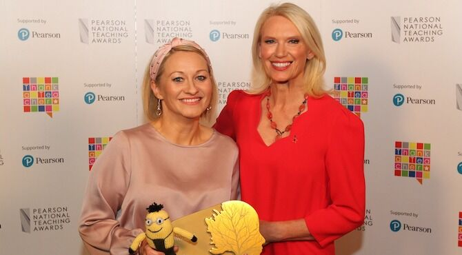 Lisamaria Purdie (left) of St Ninian's Primary School, Livingston, West Lothian being presented with The Award for Headteacher of the Year in a Primary School by Anneka Rice.