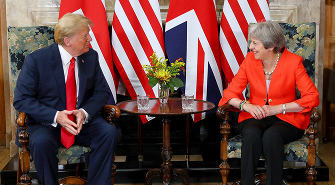 President Donald Trump meets with Prime Minister Theresa May at Chequers in the UK in 2018.