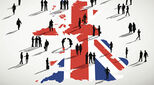 Graphic of a UK flag with illustrated people in front of it