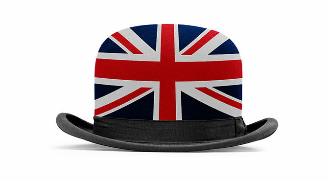 Bowler hat with Union Jack illustration superimposed on it