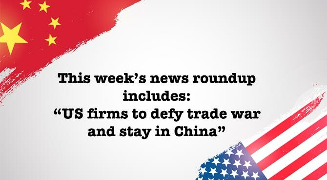 Chinese and US flag illustrates the Sept 2018 weekly Relocate news roundup which includes an article about the US/China trade war and expats who vow to keep their firms in China.
