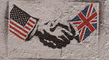 US and UK handshake illustration with union jack and stars and stripes flags