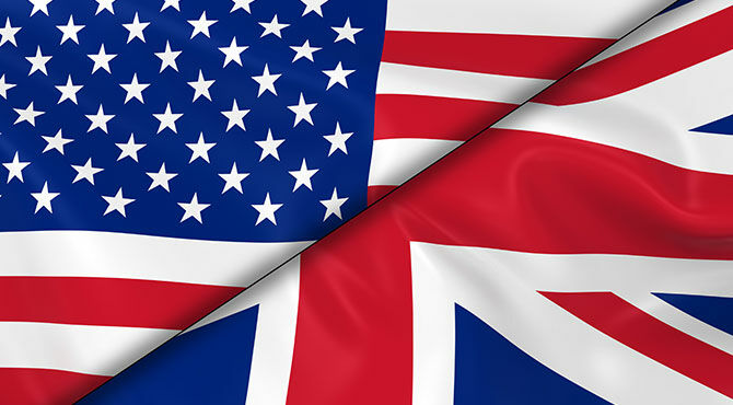 US and UK flags illustrate a news story about US/UK trade relations
