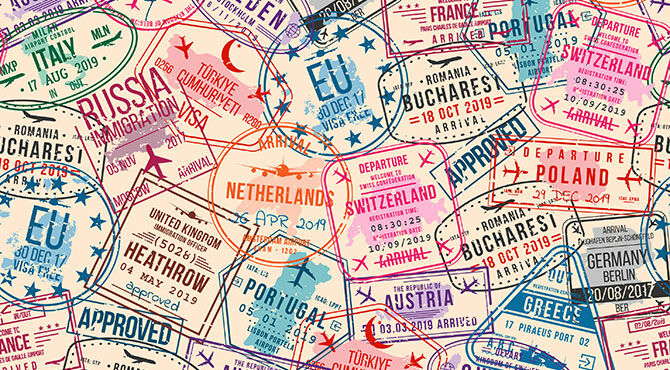 an image containing various visa stamps including one for Heathrow Airport in the UK and the EU